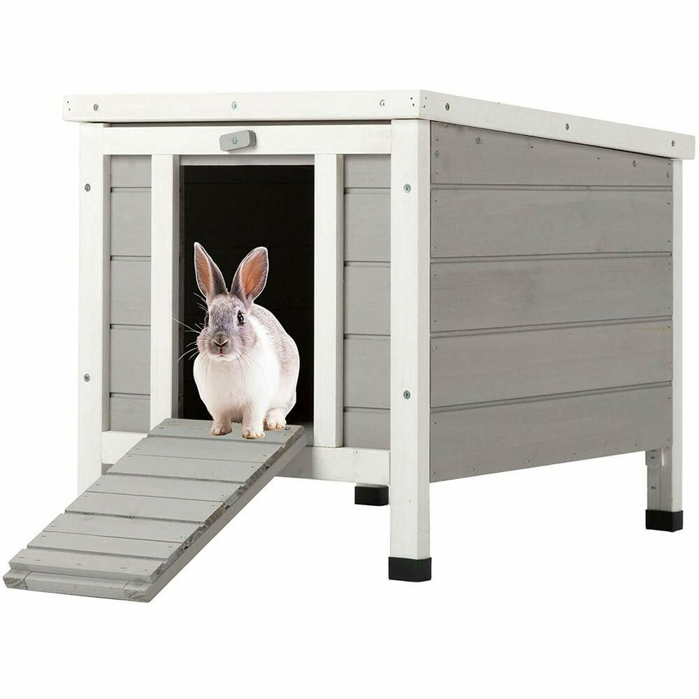 Wooden Small Pet House and Habitats ROCKEVER Cat House Outside Weatherproof Rabbit Hutch Small