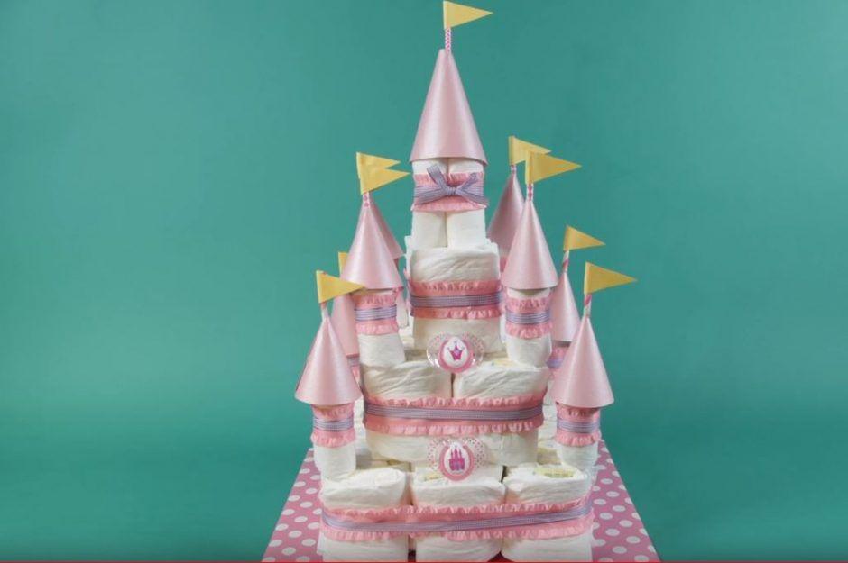 Princess Castle Diaper Cake; Pink and Gold Diaper Cake