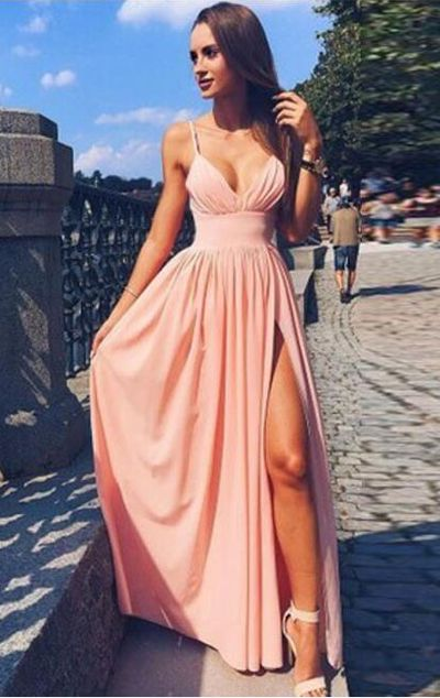 5368d3a575 Pink Spaghetti Strap V Neck Simple Long Evening Dress