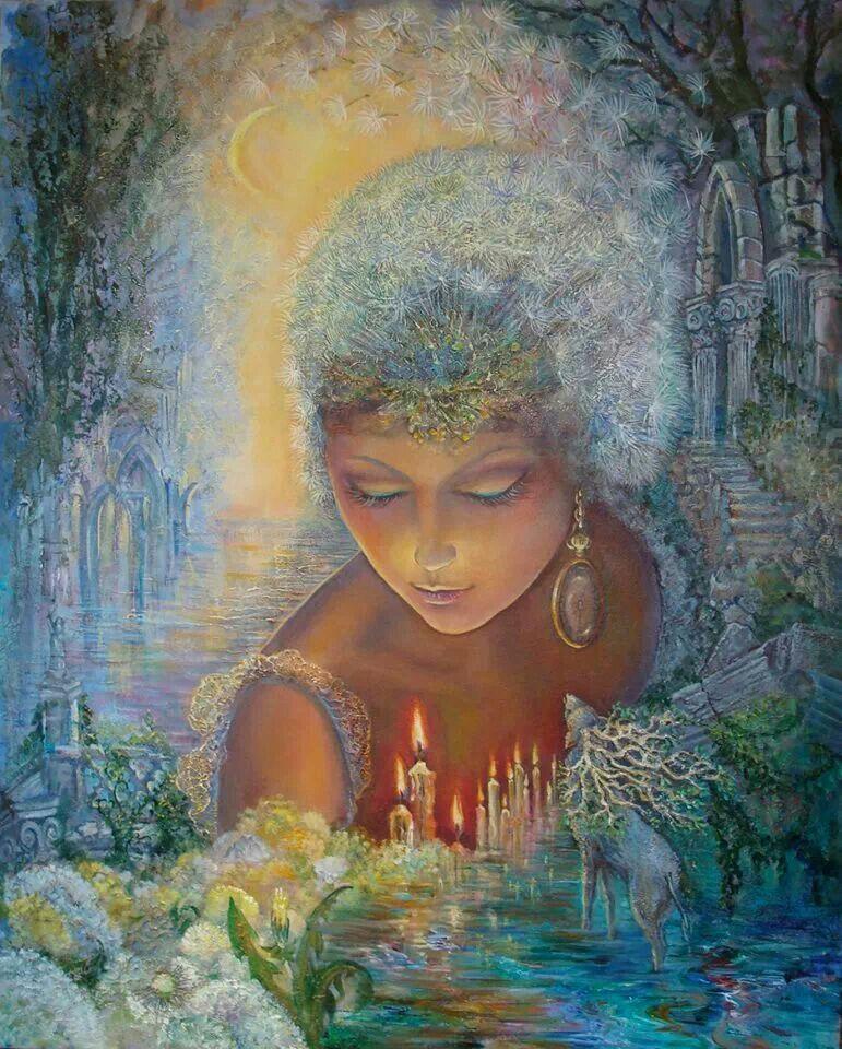 """Liven Your Walls Paintings Tierra Este: """"Dandelion Diva 1"""" Par Josephine Wall"""