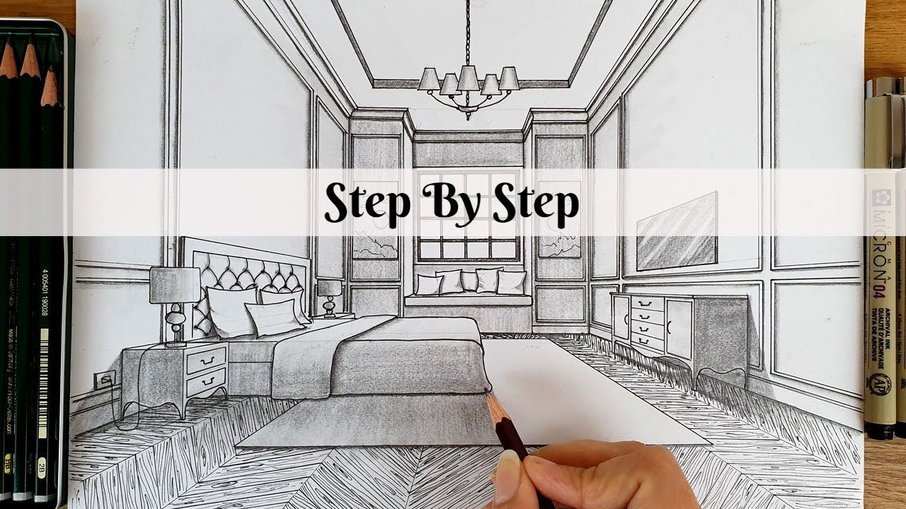 How To Draw A Bedroom In One Point Perspective Step By Step How To Draw A Bedroom In One Point Pe In 2020 One Point Perspective Point Perspective Perspective Drawing