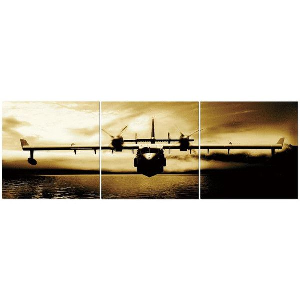 Twin Propeller Airplane In Flight Over Water 24 x 24 3 Piece Canvas ...