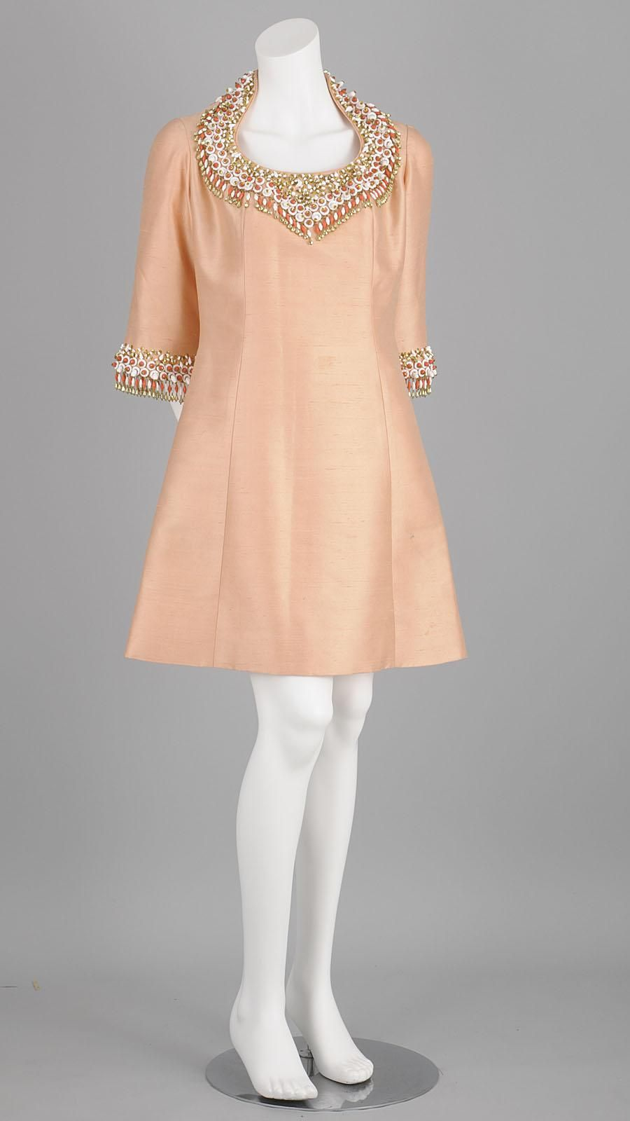 S cocktail dress in peach shantung silk heavily embellished