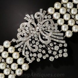 Mid-Century Platinum, Diamond and Cultured Pearl Bracelet - Shop for Jewelry
