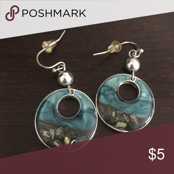 Turquoise Gray Shiny Iridescent Dangle Earrings Great With Any Professional Or Dressy Outfit