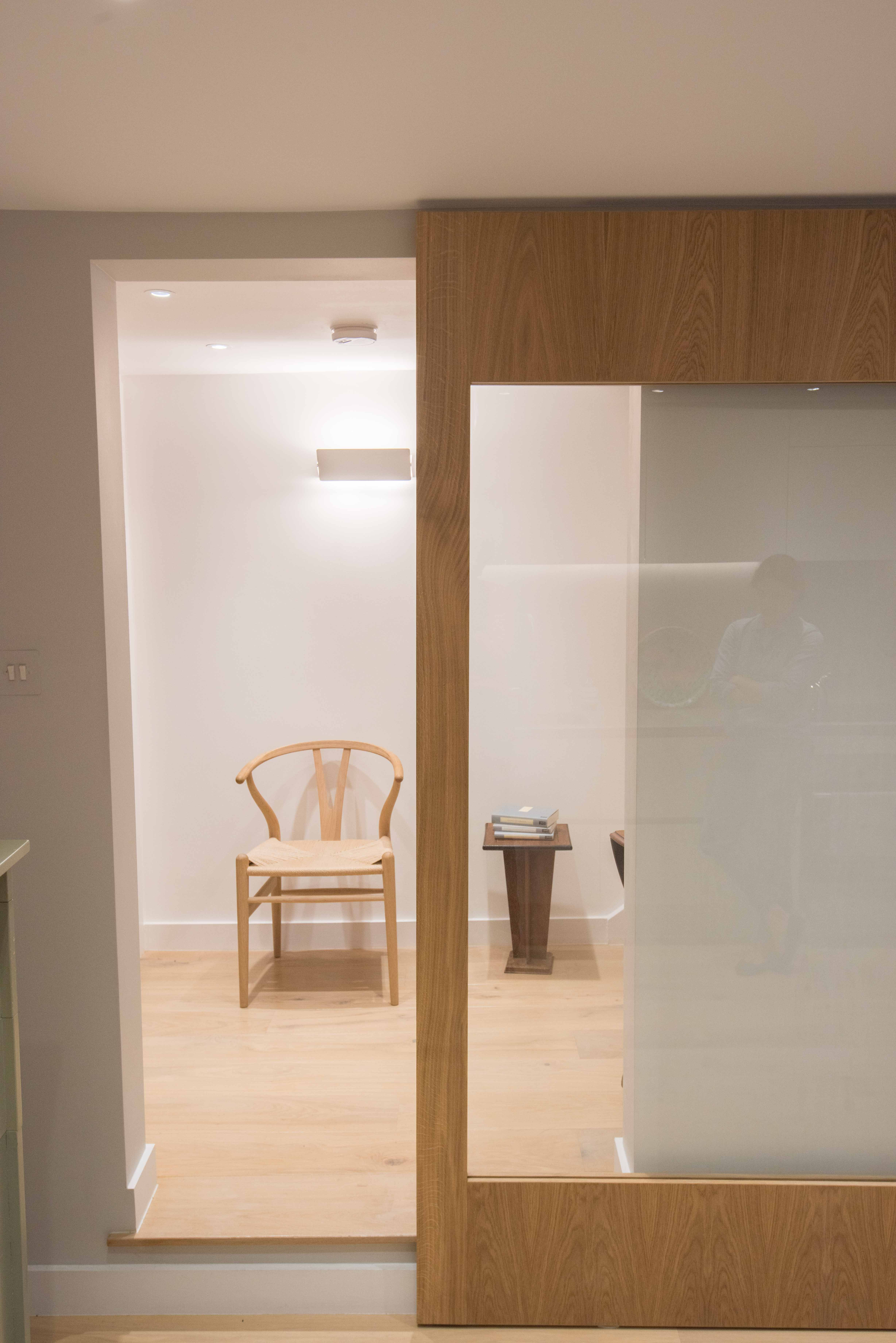 Sliding Door A Bespoke Wooden Frame With Large Glass Panel Conceals