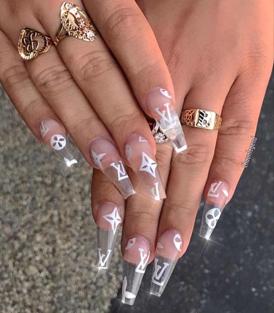Louis Vuitton Nail Art Long Acrylic Nails Coffin Nails Designs Clear Acrylic Nails