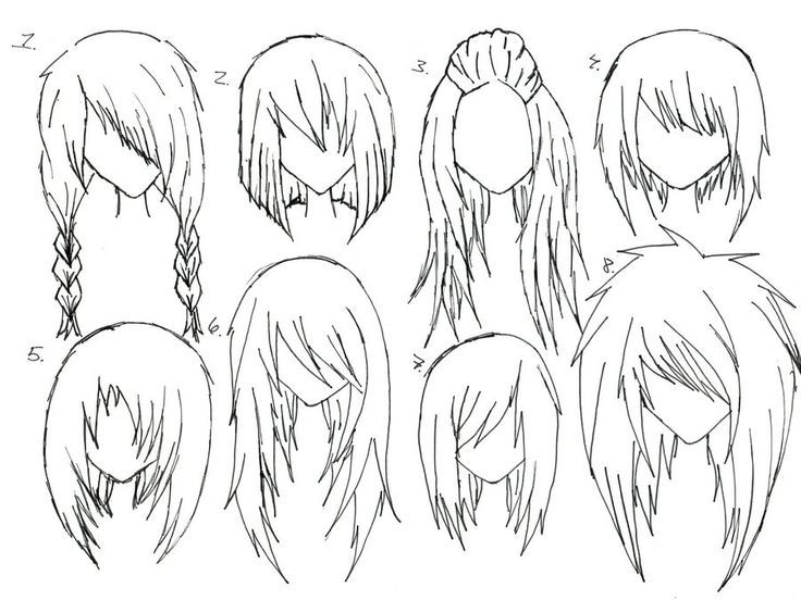 Image result for how to draw anime girl hair step by step for beginners