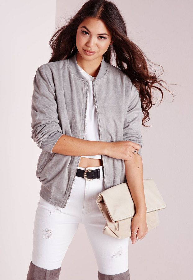 6fd26956a Faux Suede Bomber Jacket Light Grey | Korean Fashion | Jackets ...