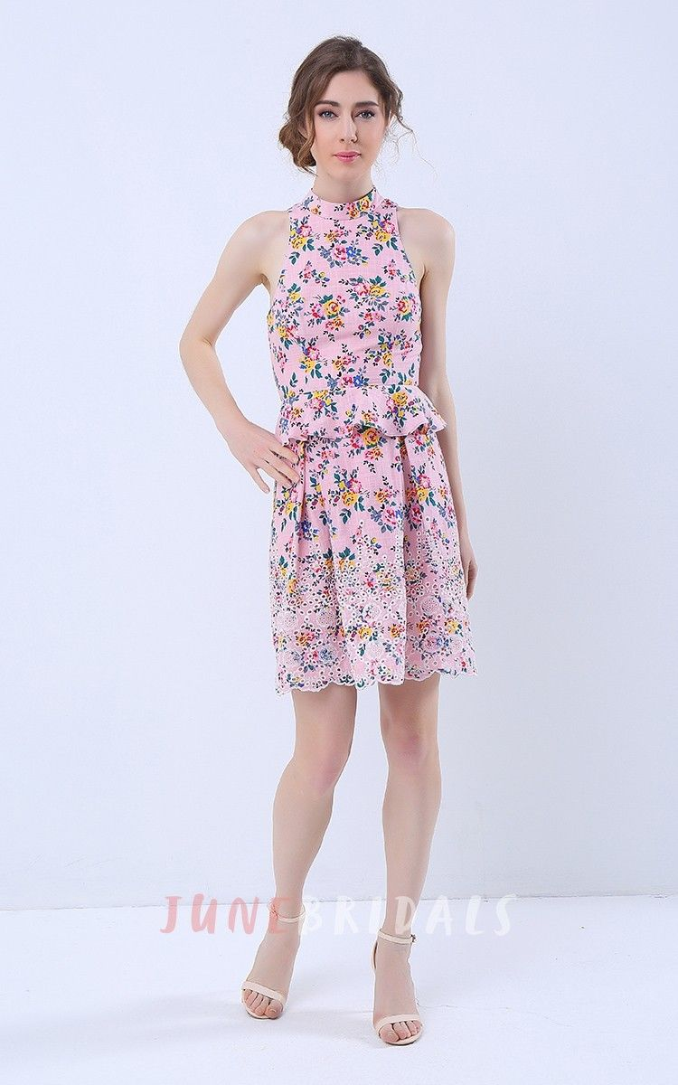 Floral print halter neck keyhole back peplum short dress wedding
