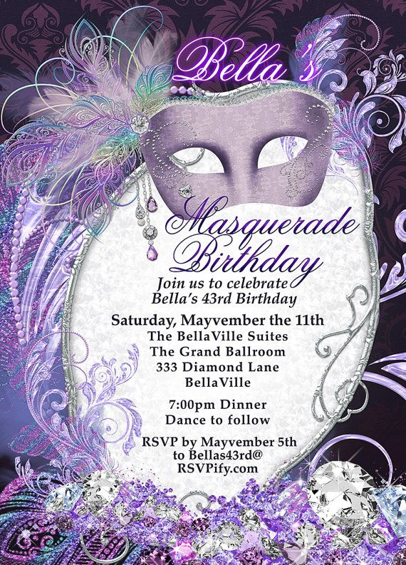 Masquerade Party Invitation Mardi Gras Purple