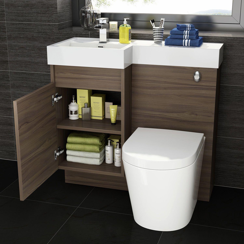 900mm Walnut L Shape Bathroom Vanity Unit With Basin Toilet
