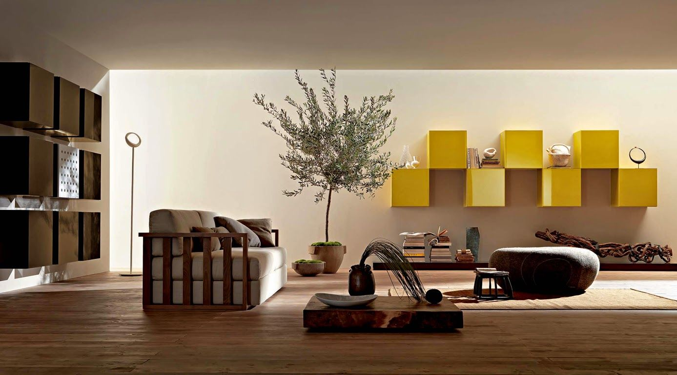 Zen Style For Living Room Interior Decoration With Low Table Ideas Natural Indoor Plant And Contemporary Yellow Modular Shelving For Zen Decoration Ideas. & Creating the Zen Style in Your Home | Living room Decorating Ideas ...