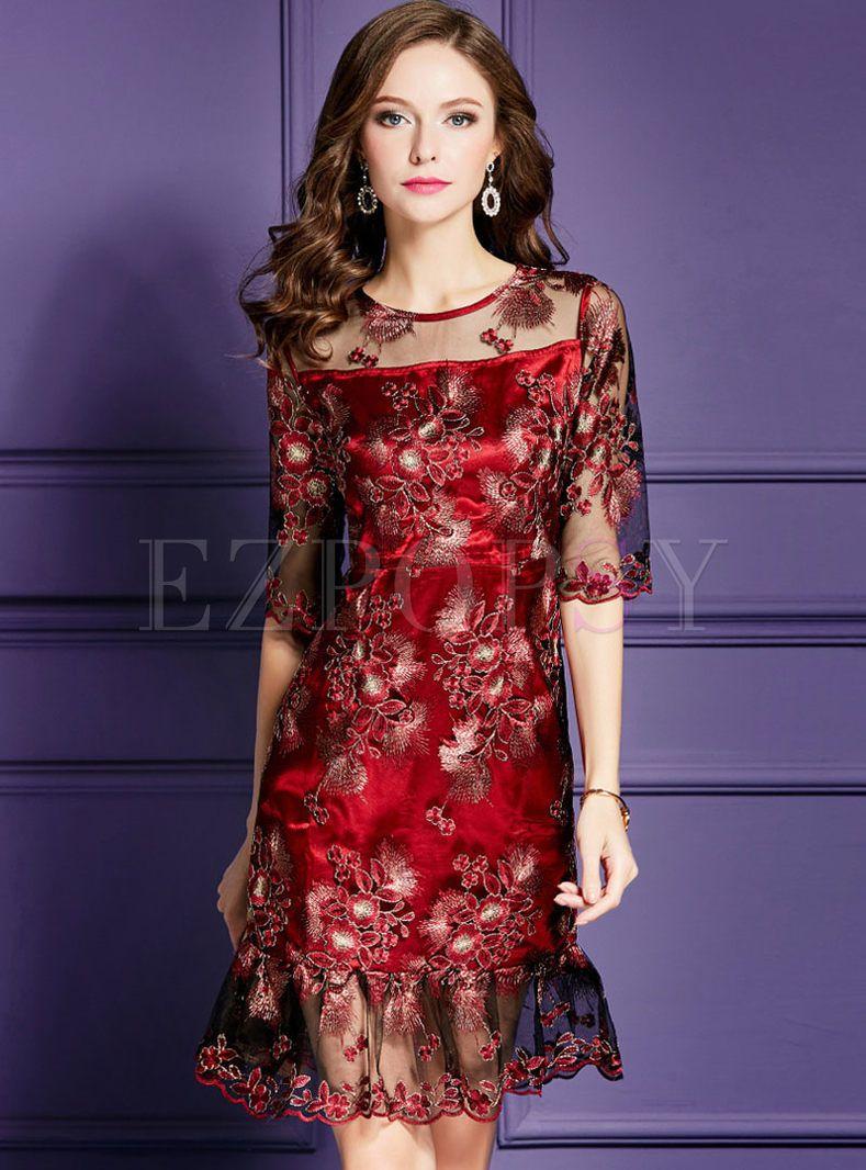 Wine Red Slim Embroidered Peplum Cocktail Dress Model Pakaian Wanita Pakaian Wanita Model Pakaian [ 1066 x 789 Pixel ]
