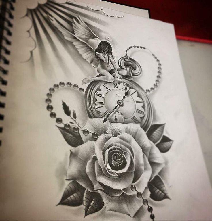 Uhr tattoovorlage Oberarm Tattoo