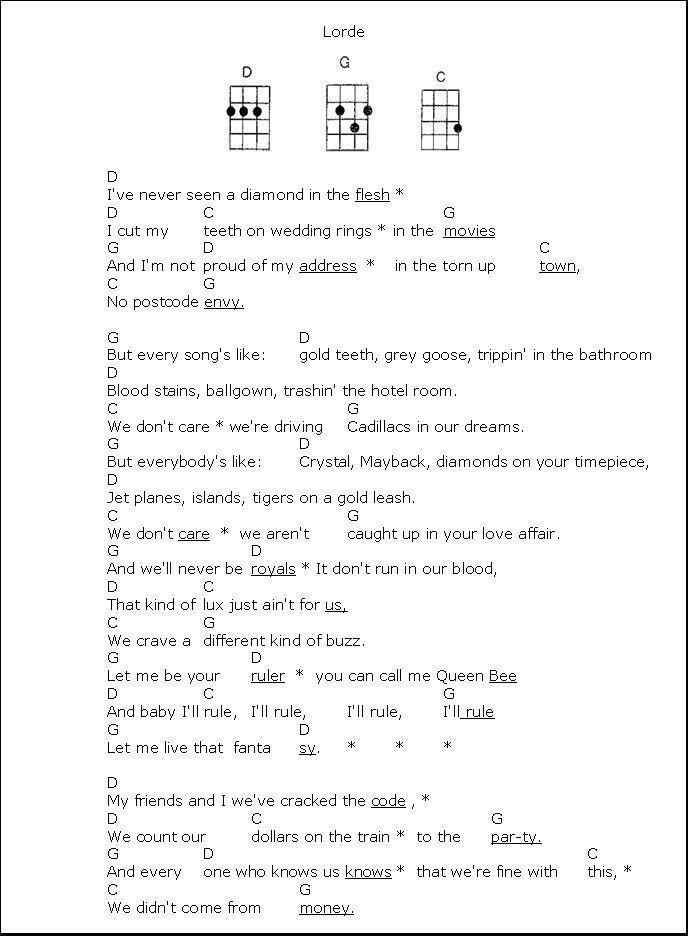 Royals by Lorde for the ukulele UKULELE RESOURCES Pinterest - ukulele chord chart