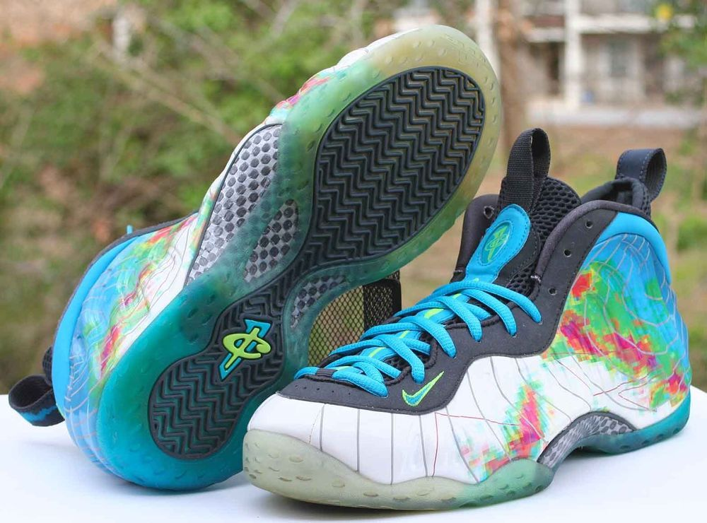 new concept 87bc2 2c118 Nike Air Foamposite One PRM Weatherman Size 11 White Current Blue SKU  575420 100  Nike  BasketballShoes