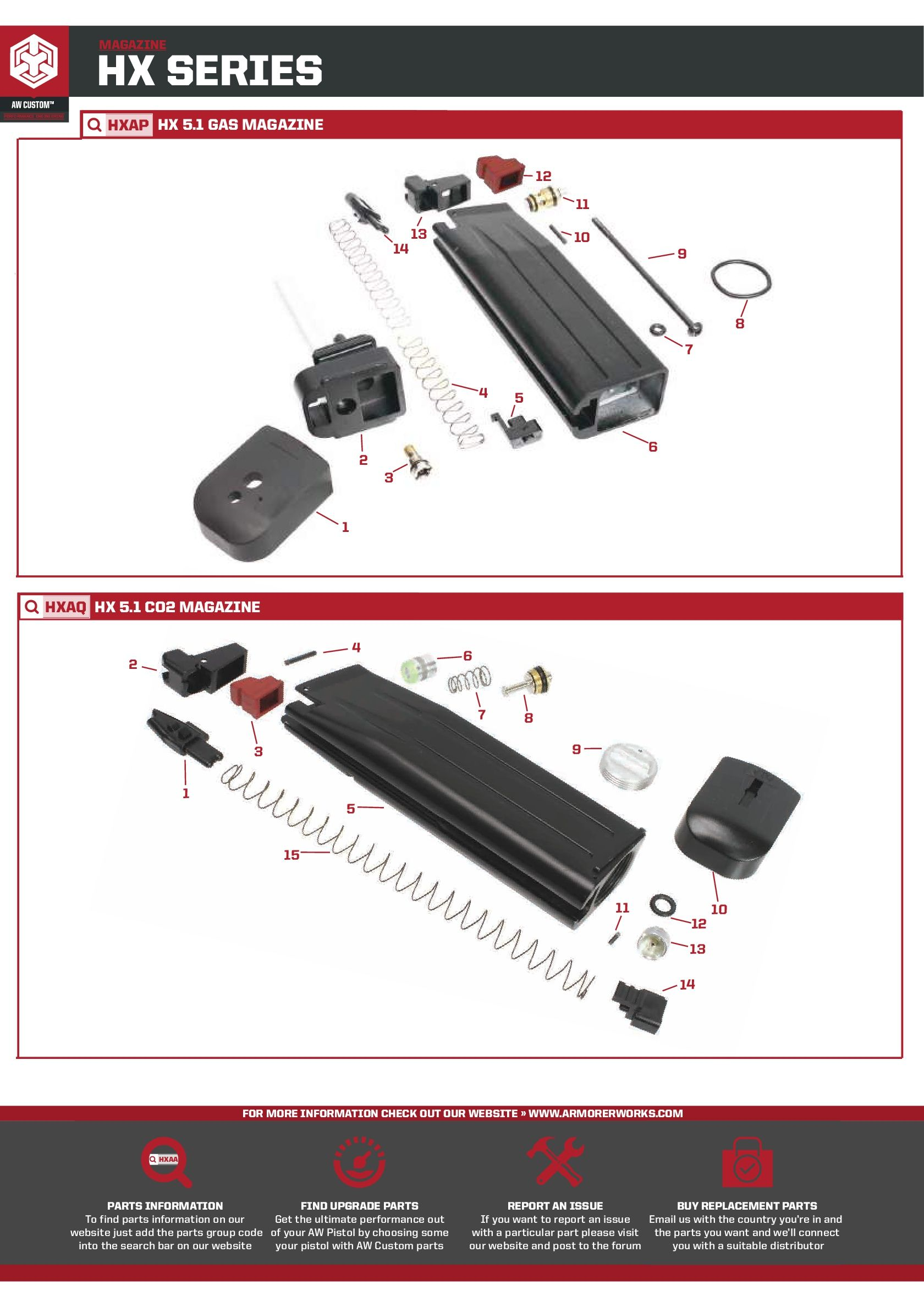 hight resolution of aw custom gas co2 magazine parts