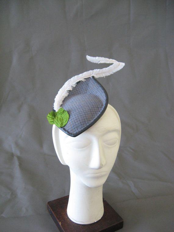Vintage wool cocktail hat feather autumn by AllThatJazzbyJAZ, $190.00