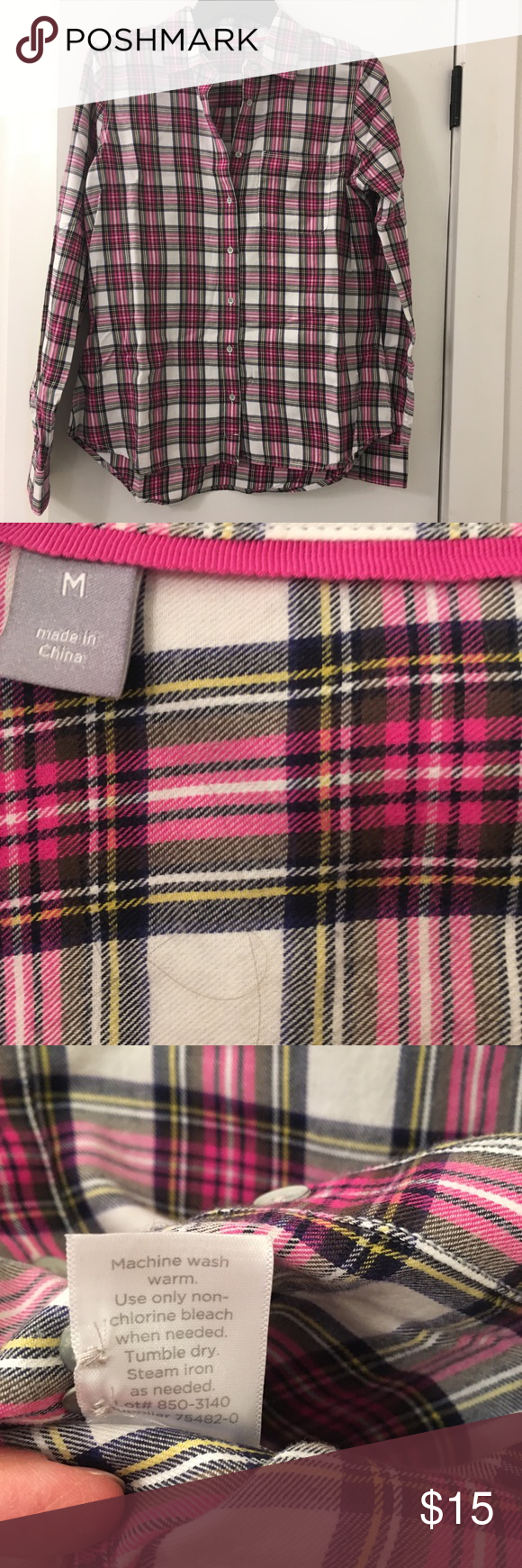 Retro flannel shirts  JCP Pink u Black Plaid Flannel Shirt  My Posh Picks  Pinterest