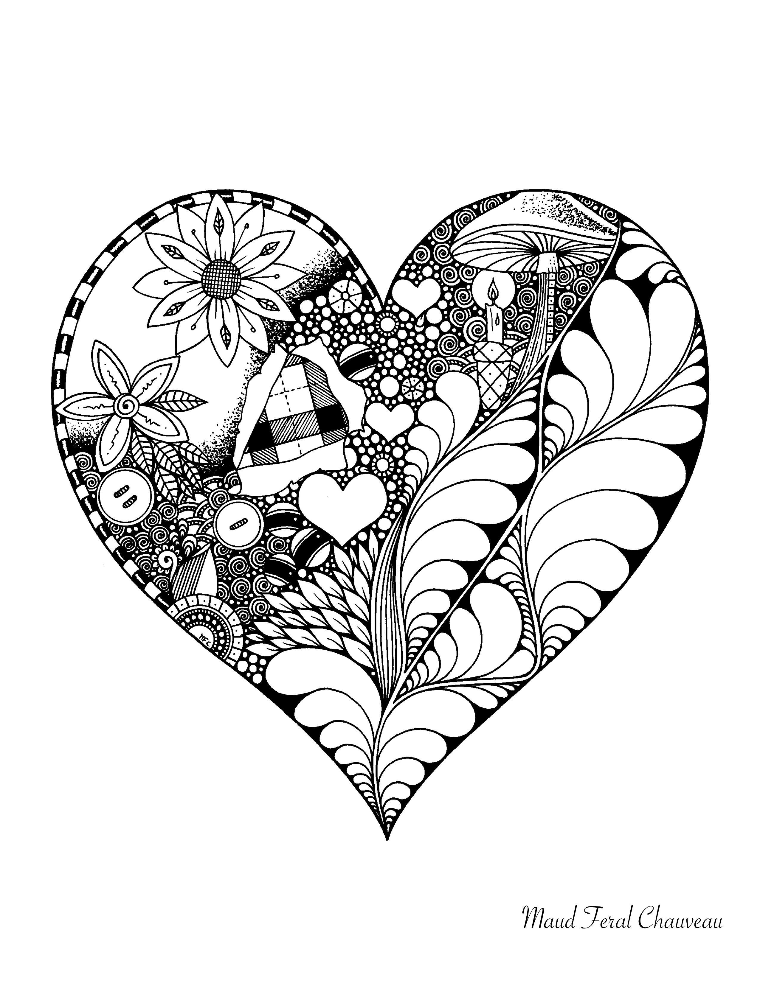 Élégant Dessin à Colorier Avec Des Coeurs