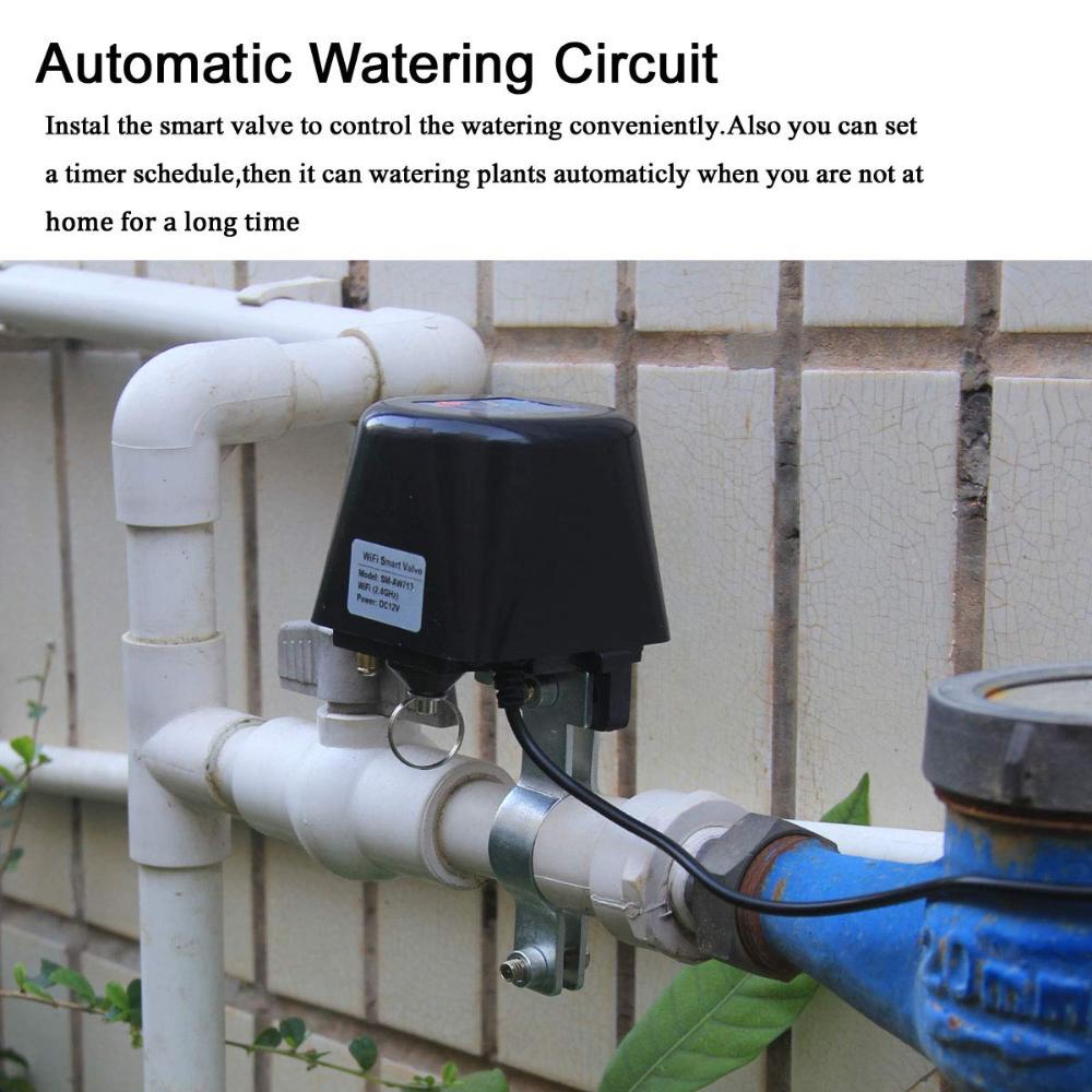 Smart Wifi Water Shut Off Valve For Leak Detection Sprinkler Control Compatible With Alexa Google Home Electronic Add On Sprinkler Controls Detection Sprinkler