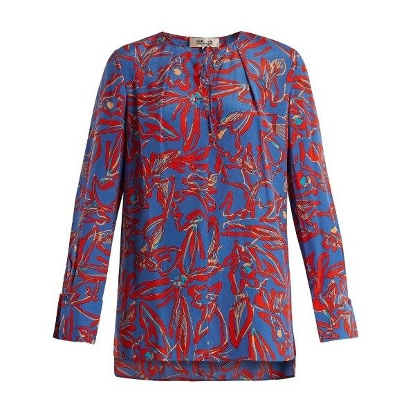 8a58e60820800 Blue Blouse · Dress Red · Red Blouses · Diane Von Furstenberg Tie-neck silk  crepe de Chine blouse (2.232.035 IDR