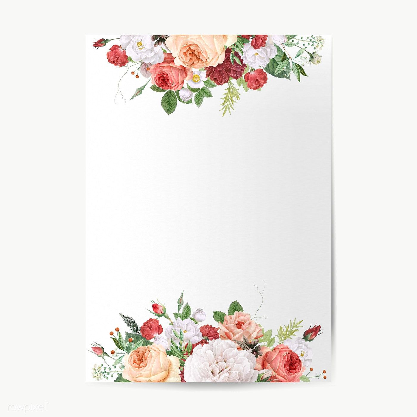 Download premium png of Floral wedding invitation mockup