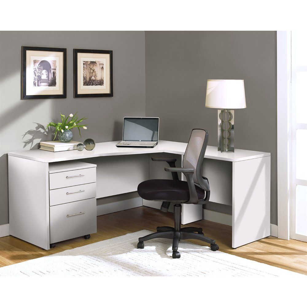 Jesper Office 100combo7 100 Series Crescent Desk And Return With Mobile Pedestal File Cabinet L Shaped Corner Desk White L Shaped Desk L Shaped Desk