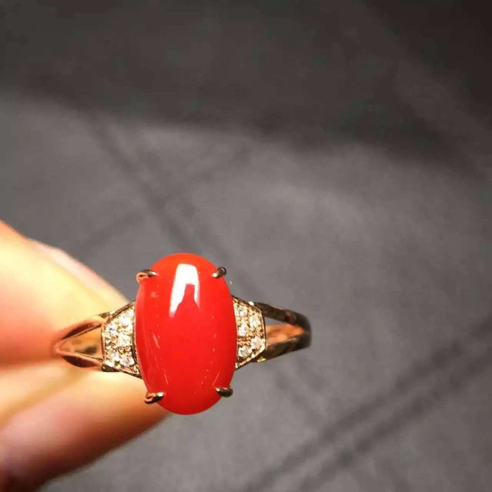 Aliexpresscom Buy fine jewelry 18k gold red coral rose ring for