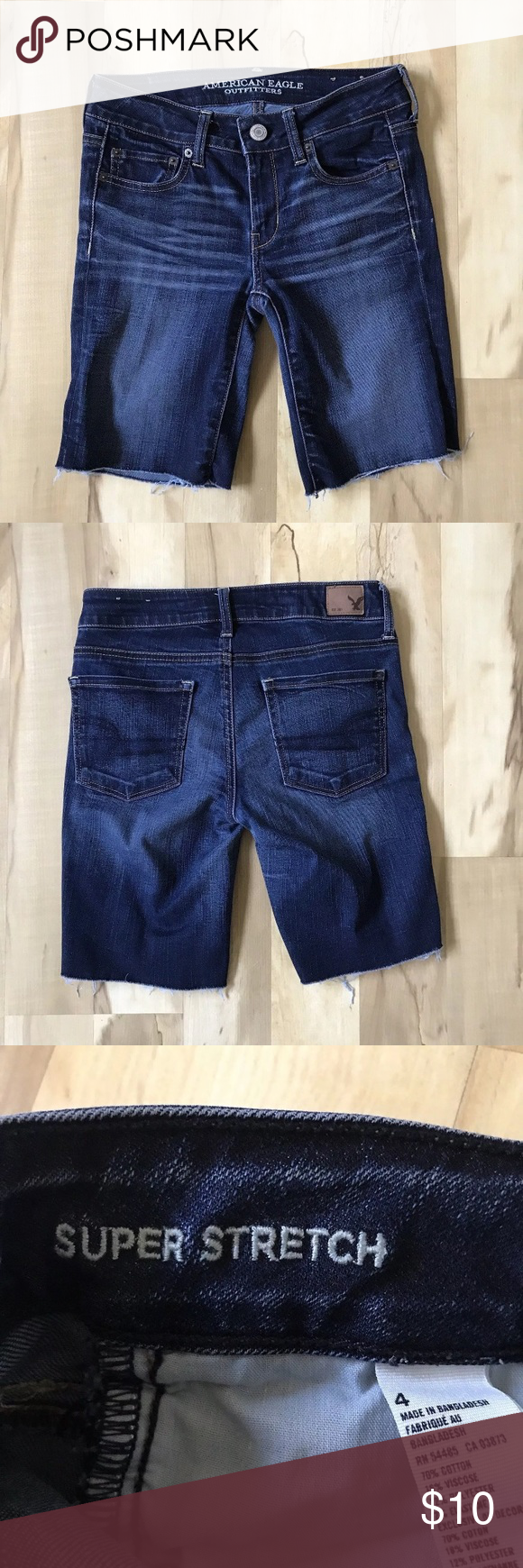 6e1d8f5053 AEO Jean Shorts Size 4 Cut Offs Super Stretch American Eagle Outfitters AEO Jean  Shorts Size