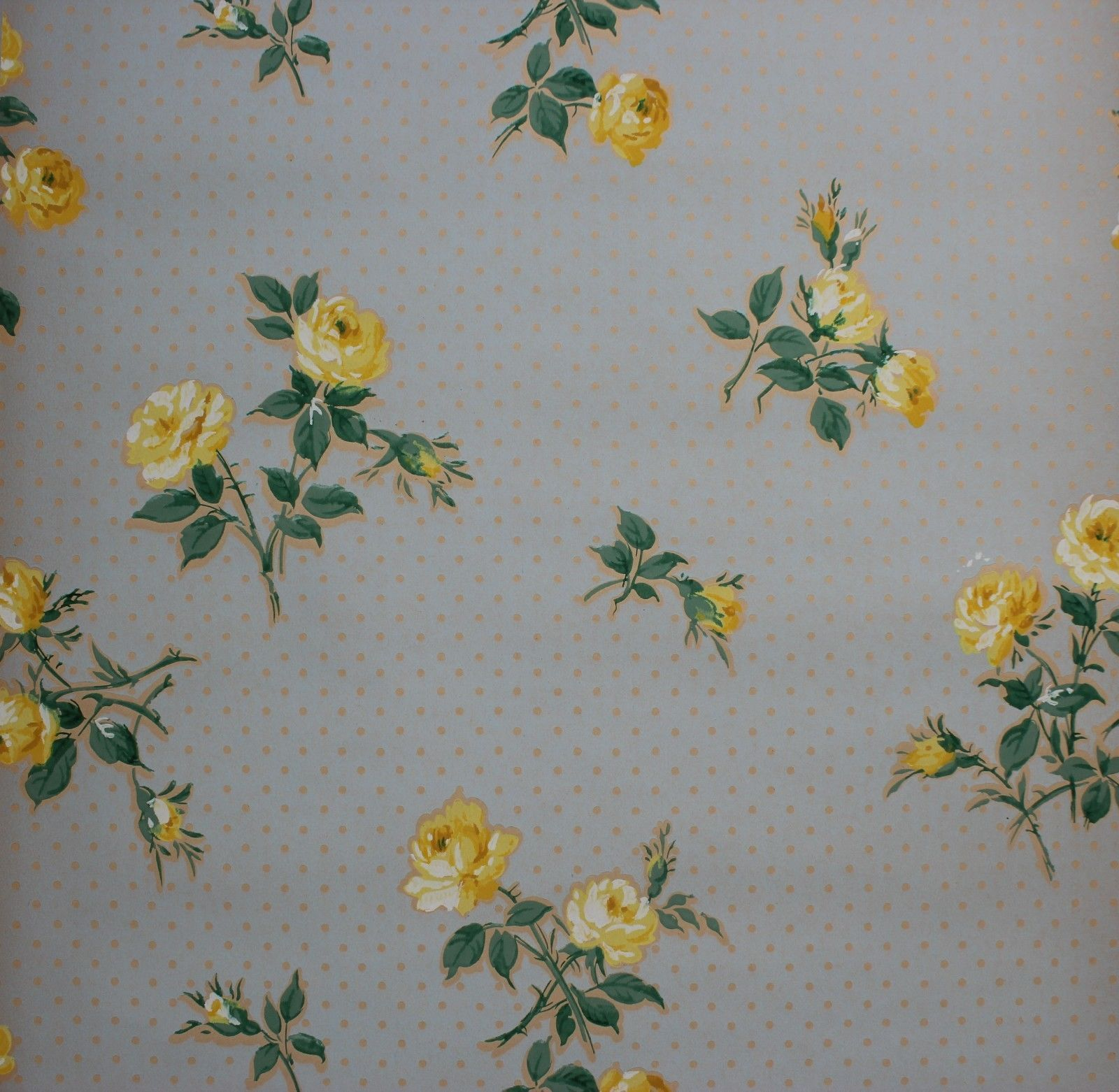 Details About Vintage Wallpaper 1930 S Yellow Roses On Blue