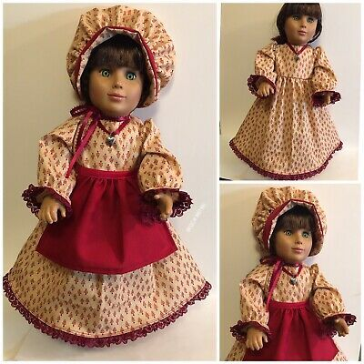 "American Girl 18 "" Doll Dress, Bonnet, Apron Pioneer Prairie Colonial Christmas  