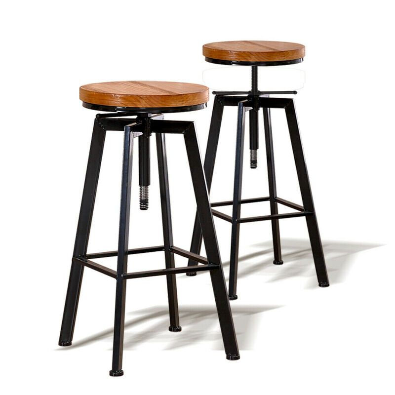 Levede Industrial Bar Stools Kitchen Stool Wooden Barstools Swivel Chair Vintage In 2020 Industrial Bar Stools Bar Stools Swivel Bar Stools