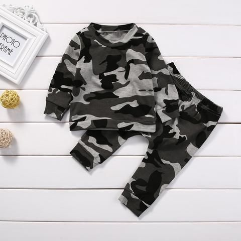 ae8de280b43c4 2pcs new baby clothing set Toddler Infant Camouflage Baby Boy Girl Clothes T -shirt Tops+Pants Outfits Set