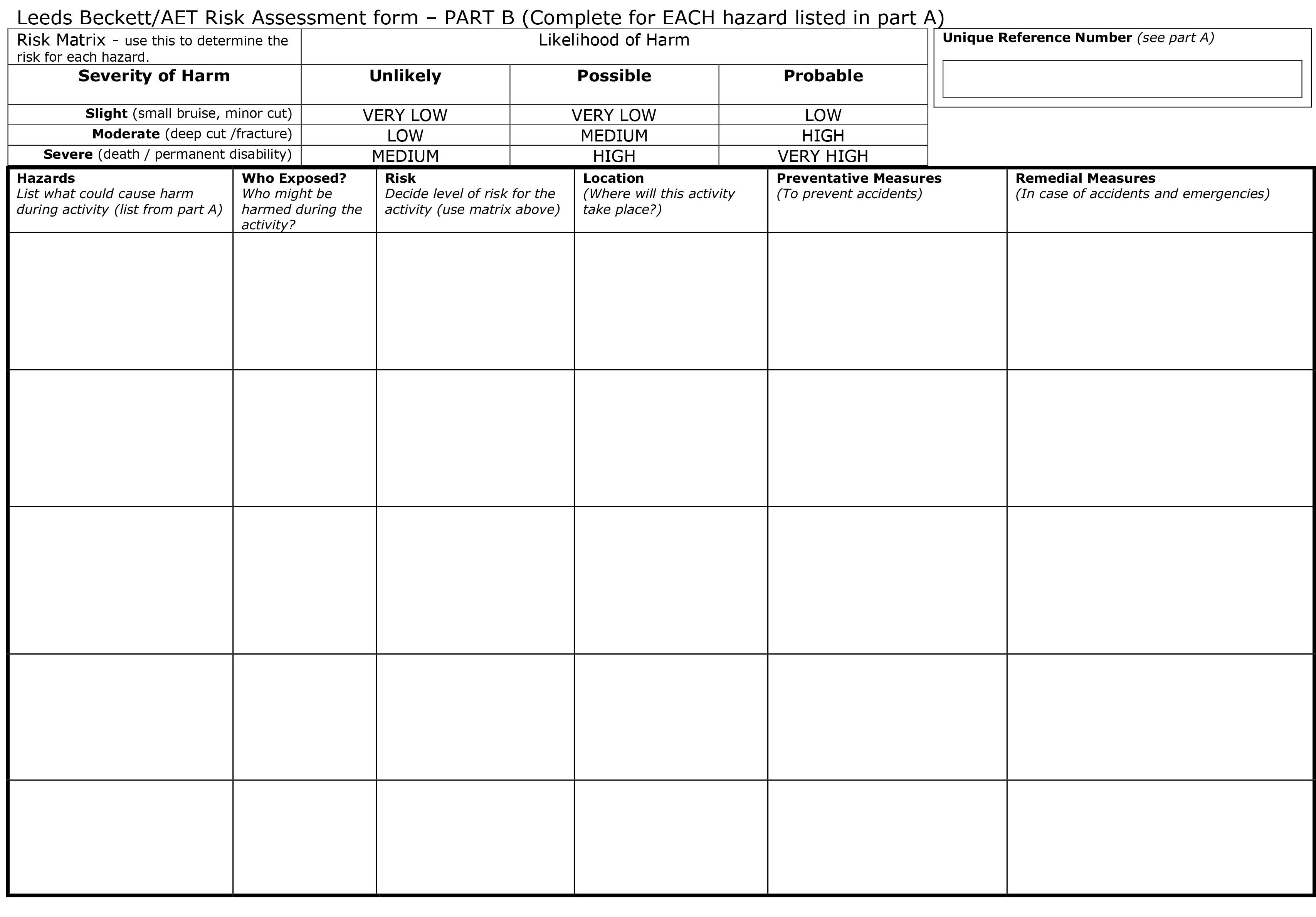 Here Is Our Blank Part B Risk Assessment Form Use This Form For
