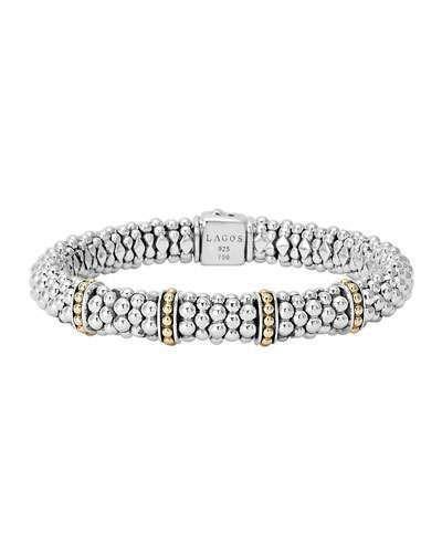 Designer LAGOS S//S 18K Enso Circle Caviar Rope Bracelet