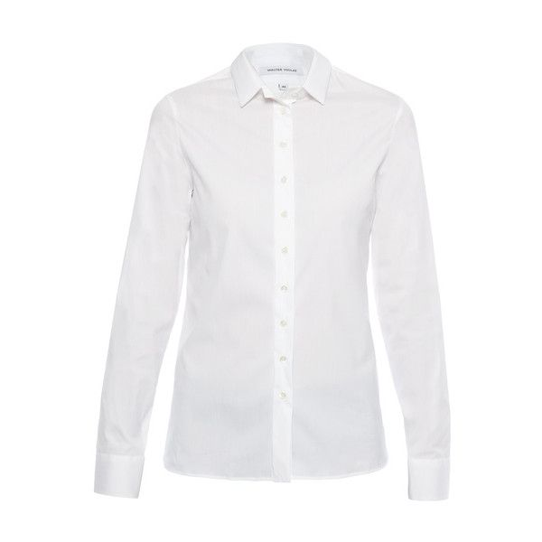 Walter Voulaz White Stretch Cotton Poplin Shirt ($230) ❤ liked on Polyvore featuring tops, white, white collar shirt, lightweight shirt, long sleeve shirts, collared shirt and white top