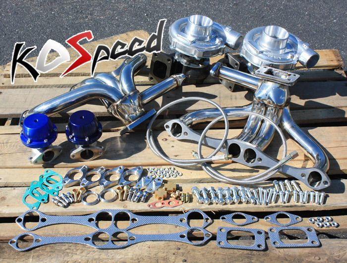 Small block chevy sbc 283 305 t04e twin turbo manifold kit