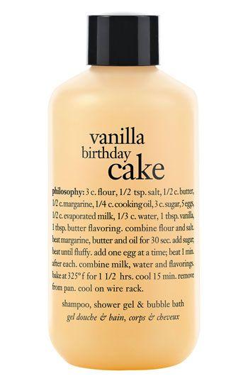 philosophy 'vanilla birthday cake' shampoo, shower gel & bubble bath ...