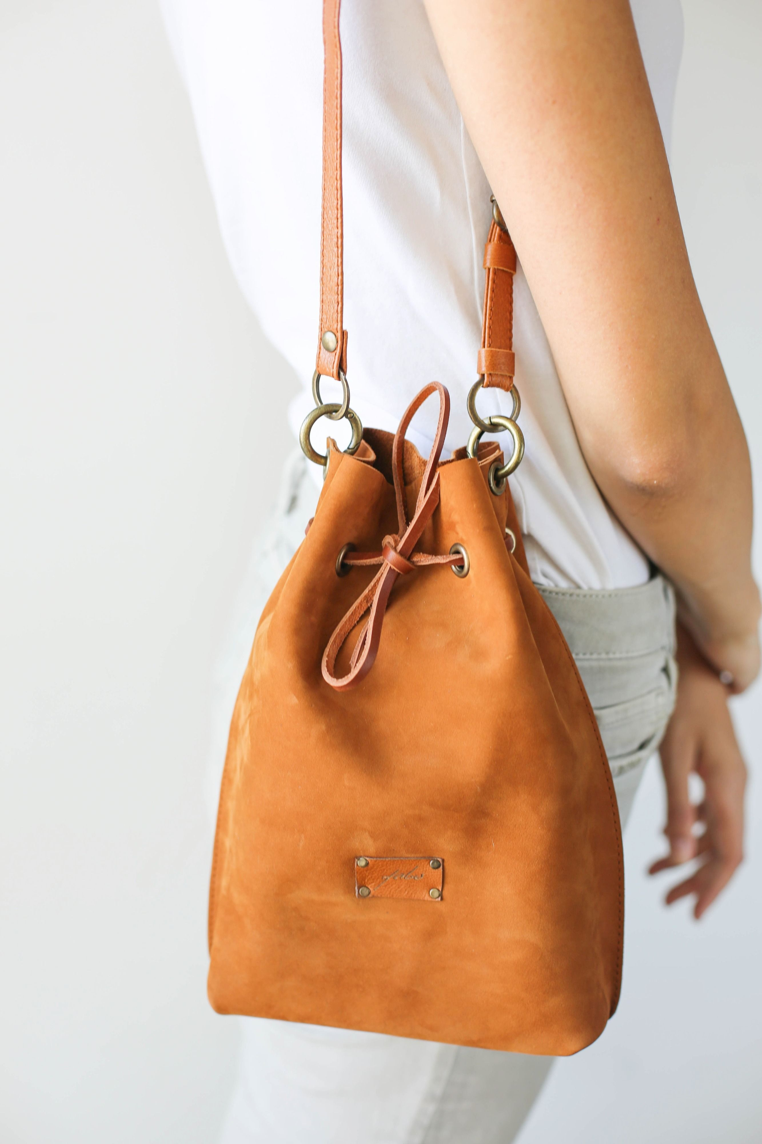 1c09761455e4 Leather Bucket Bag, Small Leather Bag, Leather CrossBody Bag, Brown ...