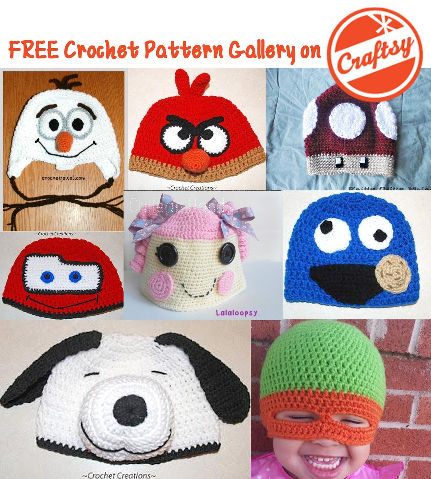 FREE Character Hats in the Craftsy Crochet Pattern Gallery   Free ... 38cb8eac2a9