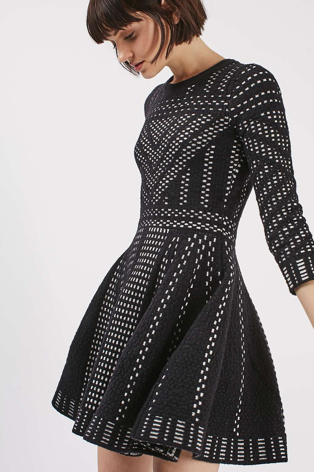 Geometric pattern fit and flare knitted dress new in fashion geometric pattern fit and flare knitted dress new in fashion new in bankloansurffo Image collections