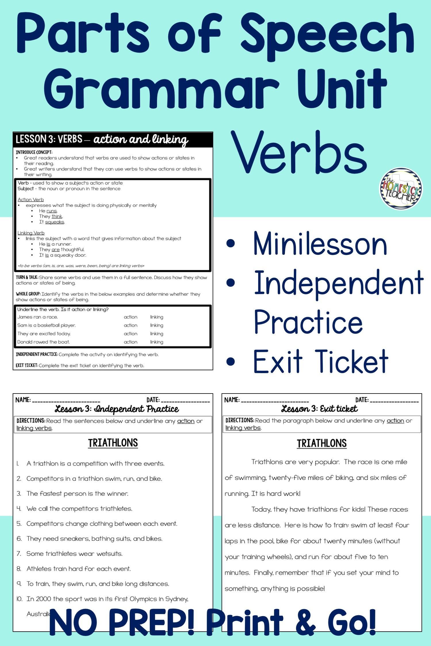Grammar Unit Parts Of Speech Nouns Pronouns Verbs
