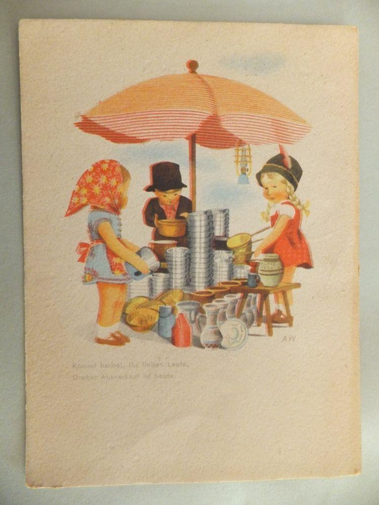 1947 gelaufen AK Postkarte AW Kinder Junge Mädchen Marktstand Sonnenschirm