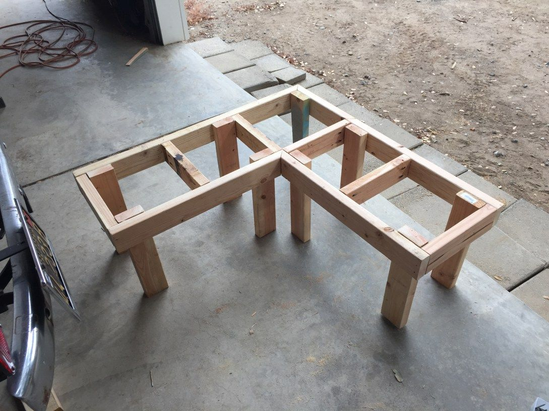 DIY Corner Bench Frame With Legs Attached More
