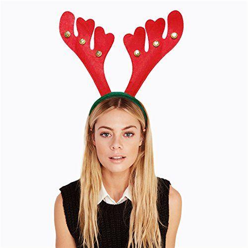 Buyerkittm 12pc Red Christmas Bell Head Buckle Hair Hoop Xmas Decorations Reindeer Antlers Headband Hairbands Pr Antler Headband Red Christmas Xmas Decorations