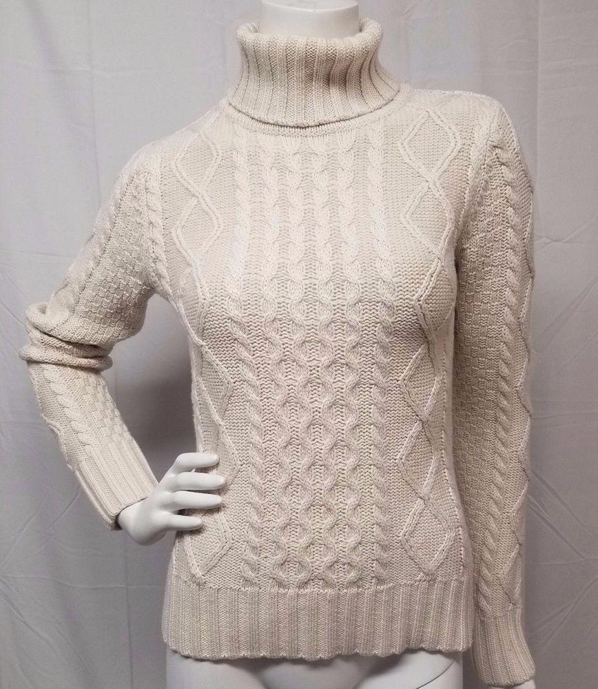 f88485c434f1 LL BEAN Wool Blend SOFT Ivory Irish Fisherman Cable Turtleneck Sweater  Women S  LLBean  TurtleneckMock