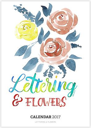 Wall calendar with #handlettering and #watercolor #florals ❤️