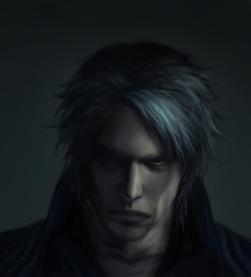 """summonedswords: """" I was curious so I took a screencap of dante and painted my own redesigned version of dmc4 vergil based on it (to keep facial structure etc. the same) basically he turned out looking very final fantasy-esque and I regret..."""